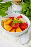 Fruit Salad and Stevia Powder. Natural Sweetener. Stock Photos