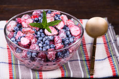 Fruit salad with strawberries and blueberries Stock Photo