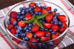 Fruit salad with strawberries and blueberries Royalty Free Stock Images