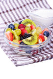 Fruit salad with strawberries, oranges, kiwi, blueberries Royalty Free Stock Photo