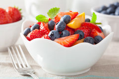Fruit salad with strawberry blueberry apricot Stock Image
