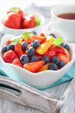 Fruit salad with strawberry blueberry apricot Stock Photos