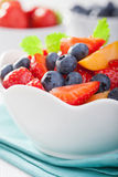 Fruit salad with strawberry blueberry apricot Royalty Free Stock Photo