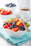 Fruit salad with strawberry blueberry apricot Royalty Free Stock Image