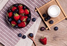 Fruit salad. Strawberry blueberry salad Royalty Free Stock Photo