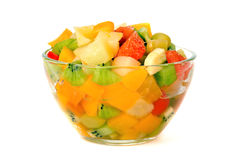 Fruit Salad. Sweet Fruit Salad In A Glass Bowl Royalty Free Stock Photography