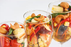 Fruit Salad (Thai Style). Fusion food from thailand, Fruit Salad with spicy-sour dressing Stock Photos