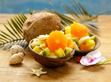 Fruit salad of tropical fruits Royalty Free Stock Photos