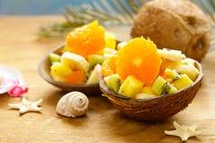 Fruit salad of tropical fruits. Mango, banana, kiwi Stock Images