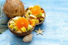 Fruit salad of tropical fruits. Mango, banana, kiwi Royalty Free Stock Photos