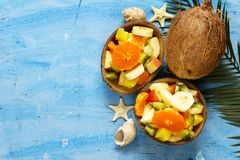 Fruit salad of tropical fruits Stock Image