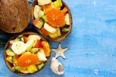 Fruit salad of tropical fruits. Mango, banana, kiwi Royalty Free Stock Photography