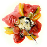 Fruit salad with vanilla ice cream Royalty Free Stock Photography