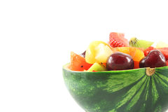 Fruit salad in watermelon Stock Images