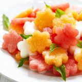 Fruit salad with watermelon and melon Royalty Free Stock Photography