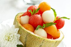 Fruit salad with watermelon and melon balls Stock Images