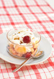 Fruit salad with whipped cream Stock Photography