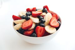 Fruit salad on white background Royalty Free Stock Images