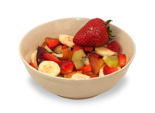 Fruit salad in white bowl isolated Royalty Free Stock Image