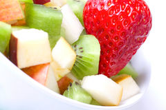 Fruit salad in white plate Royalty Free Stock Image