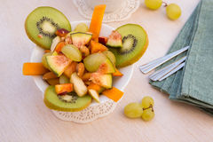 Fruit salad in the white plate Royalty Free Stock Photos
