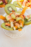 Fruit salad in the white plate Stock Photo