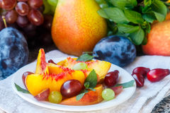Fruit salad in white plate. Snack of fresh peaches, grapes, dogwood, plums, and mint leaves. Healthy Breakfast Stock Photo