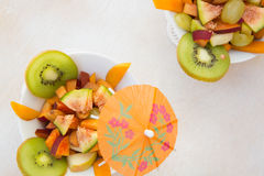Fruit salad in the white plate Royalty Free Stock Photo