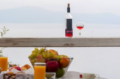 Fruit salad and wine in countryside Stock Image