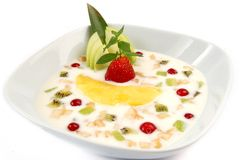 Fruit salad with yoghurt Royalty Free Stock Photography
