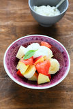 Fruit salad with yogurt Royalty Free Stock Photos