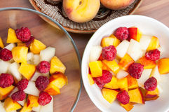 Fruit salads bowls Royalty Free Stock Images