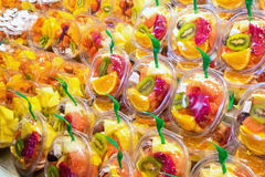 Fruit salads at a market Royalty Free Stock Photos