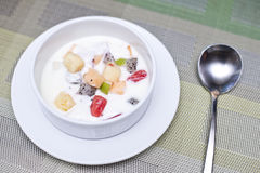 Fruit salads in Yogurt, breakfast Royalty Free Stock Photography