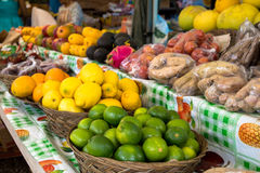 Fruit for sale at a roadside stall in Hawaii. Various types of fruit for sale at a roadside stall in Hawaii Stock Images