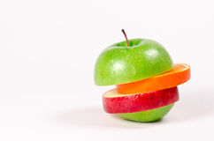 Fruit Sandwich of Green, Red Apple and Orange Stock Image