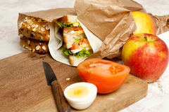 Fruit and sandwiches for lunch Royalty Free Stock Images