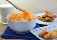Fruit and Sanke. Royalty Free Stock Images