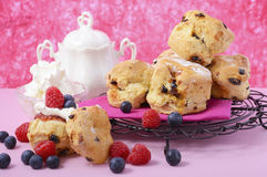 Fruit Scones with berries and cream Stock Images