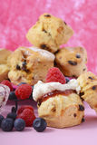 Fruit Scones with berries and cream Royalty Free Stock Images