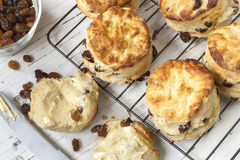Fruit Scones on Rack Top View Royalty Free Stock Photos