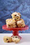 Fruit Scones on Red Cake Stand. Stock Photo