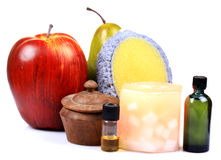 Fruit scrub and oils Royalty Free Stock Image