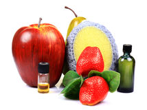 Fruit scrub and oils Stock Photo