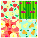Fruit seamless. Set of four seamless from apple, cherry, pear and strawberry Stock Photos