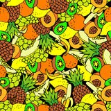 Fruit seamless background. Hand drawn. Stock Photo