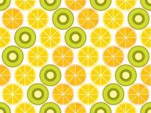 Fruit seamless background with oranges, kiwi and lemons. Vector Stock Photos