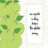 Fruit seamless hand drawn border with green apples and leaves. Stock Images