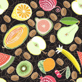 Fruit seamless pattern on black background. vector illustration Stock Photography