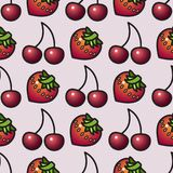 Fruit seamless pattern. Cartoon style strawberry and cherry. Royalty Free Stock Photography